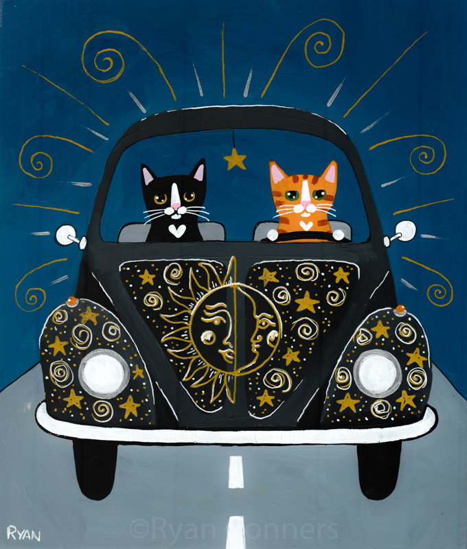 The Sun and the Moon and the Stars Road Trip Cats Original Cat Folk Art Painting