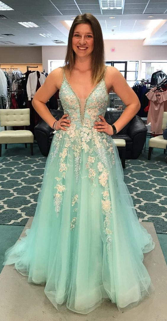 A Line Spaghetti Straps Light Blue Prom Dress With Beading Appliques