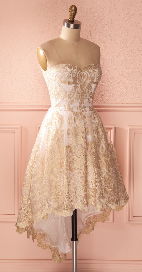Sweetheart Homecoming Dresses, Hi-low Homecoming Dresses, Gold Lace Homecoming