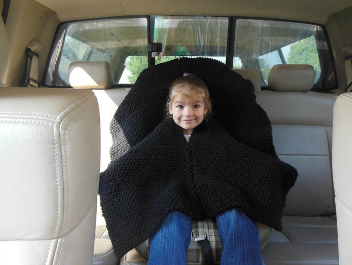 Custom made Double Knit Car Seat Poncho in sizes 12mths to 5T, Poncho