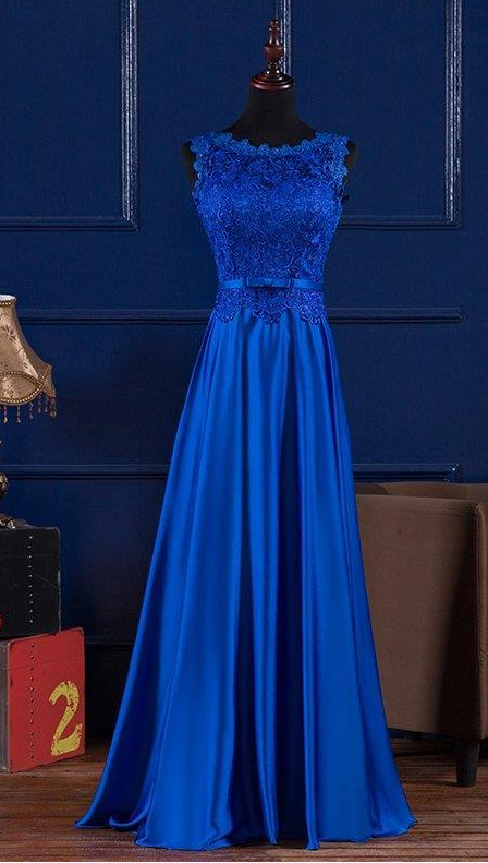 Scoop Neck Lace Satin Evening Dress, Blue Prom Dress, Floor Length Prom Dress,