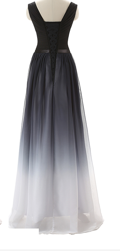 Black To White Prom Dresses, Lace Up Long Evening Dresses,A-line Dress