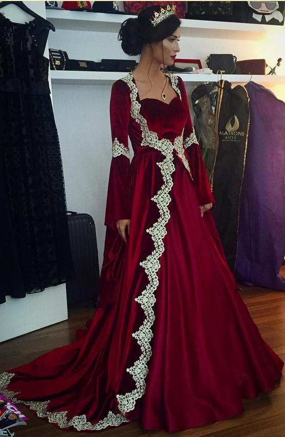 burgundy prom dresses,velvet prom dresses,Muslim prom dress,Long Sleeves Evening