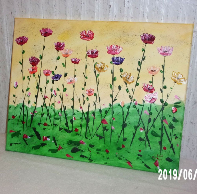 """Original Abstract Flower Painting, 16"""" x20"""" Acrylic Painting, """"Garden of"""