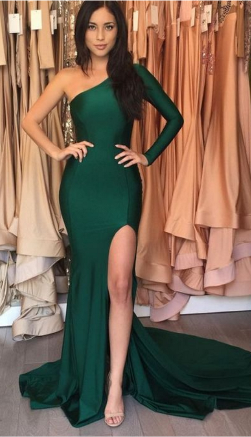 Emerald Green Long Mermaid Prom Dresses,Sexy Evening Dress,Mermaid Prom Dresses