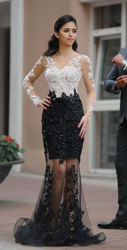 Chic White Black Lace See Through Long Sleeves Mermaid Prom Dresses Formal