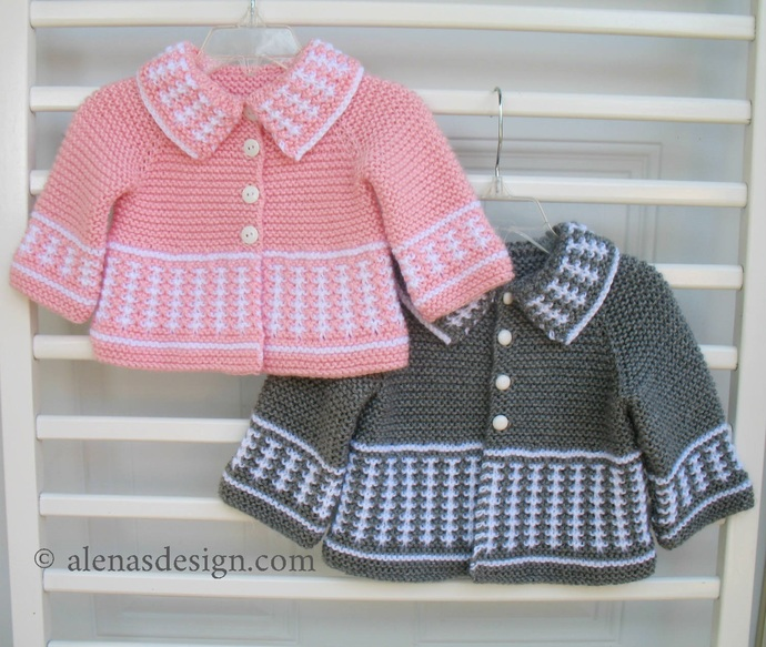 Knit Baby Cardigan Handmade Sweater Pink Grey White Jacket  Newborn Baby Boy