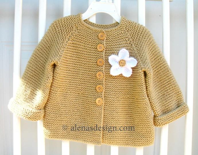 Knit Flower Cardigan Newborn Baby Toddler Girls Beige White Jacket Handmade