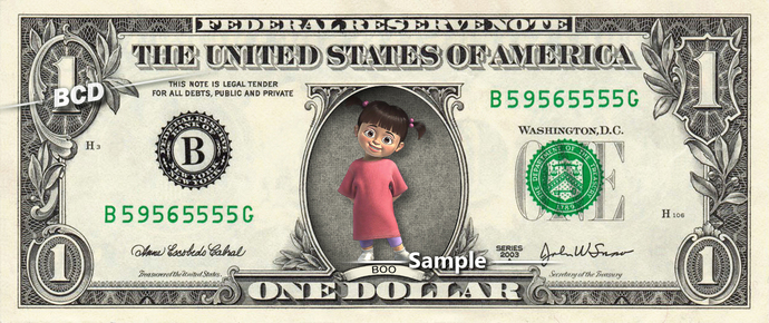 Boo Monsters Inc on REAL Dollar Bill Disney Movie Cash Money Collectible