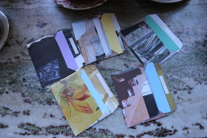 Note cards with handmade envelopes - Textures & Flower Pots - Pack of 5