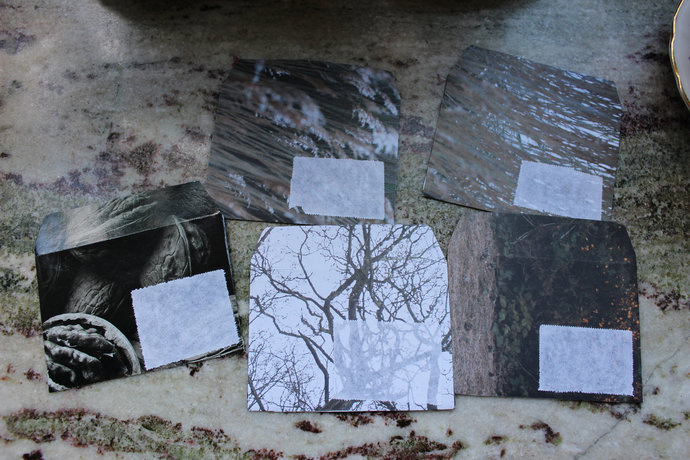 Note cards with handmade envelopes - Tree Grass & Walnut - Pack of 5