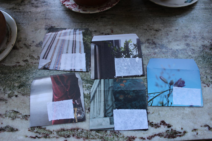 Note cards with handmade envelopes - Textures Bluebell Pack of 5