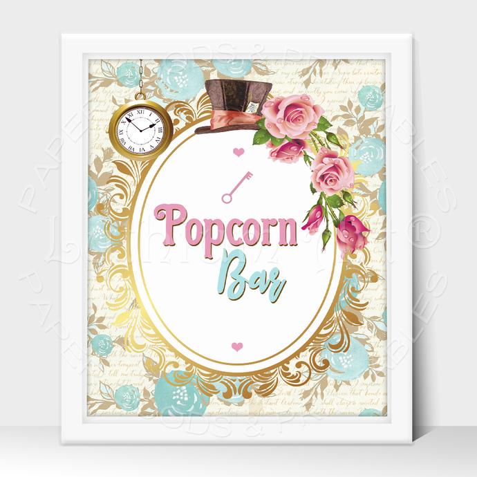 ALICE IN WONDERLAND Party Sign, Popcorn Bar Printable Sign, Instant Download
