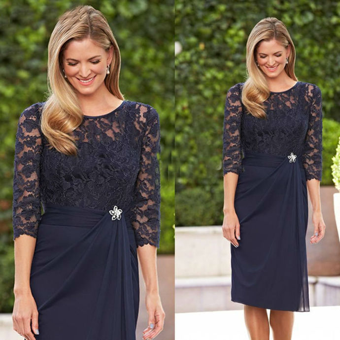 New Navy Blue Lace Prom Dress, Short Mother of the Bride Dresses, Formal Party