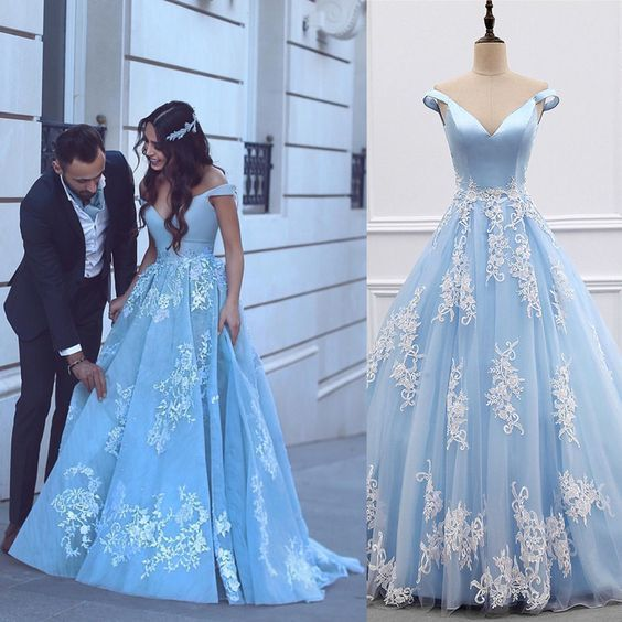 satin tulle light blue prom dress,ball gown prom dresses,lace appliques evening
