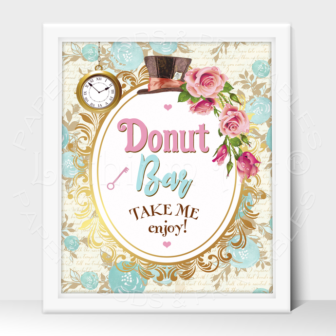 ALICE IN WONDERLAND Party Sign, Favors Printable Sign, Instant Download