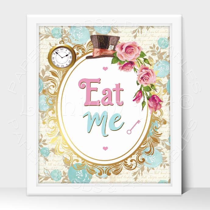 ALICE IN WONDERLAND Party Sign, Eat Me Printable Sign, Instant Download