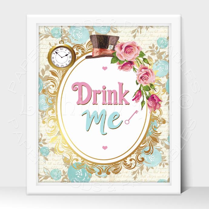 ALICE IN WONDERLAND Party Sign, Drink Me Printable Sign, Instant Download