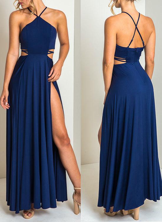 Royal blue chiffon prom dress, royal blue evening dress,evening dress,modest