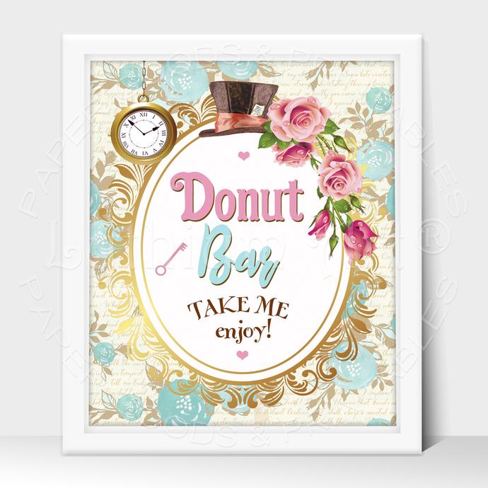 ALICE IN WONDERLAND Party Sign, Donut Bar Printable Sign, Instant Download