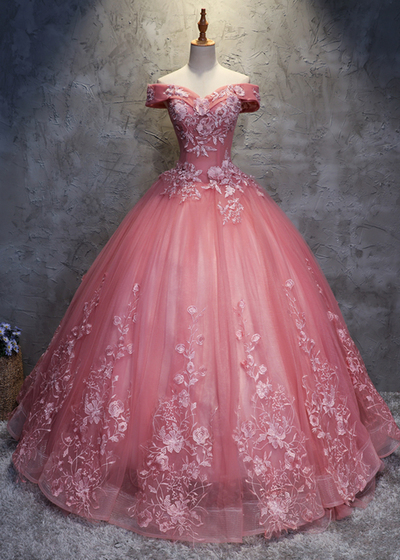 Off shoulder pink prom dresses,tulle long handmade evening dress, long ball gown