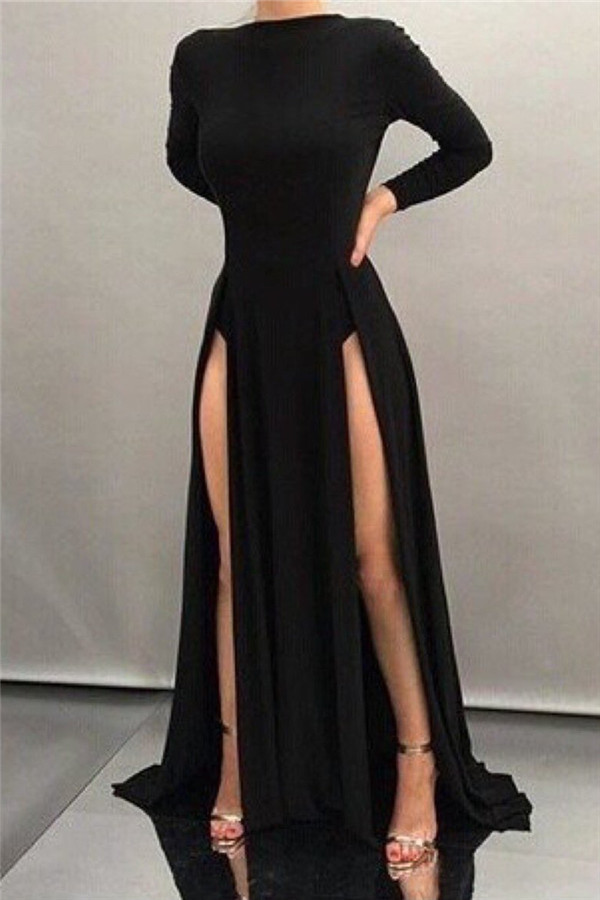 Black Sheath High-neck Front-splits Sleeves Long Sexy Evening Dresses, Prom