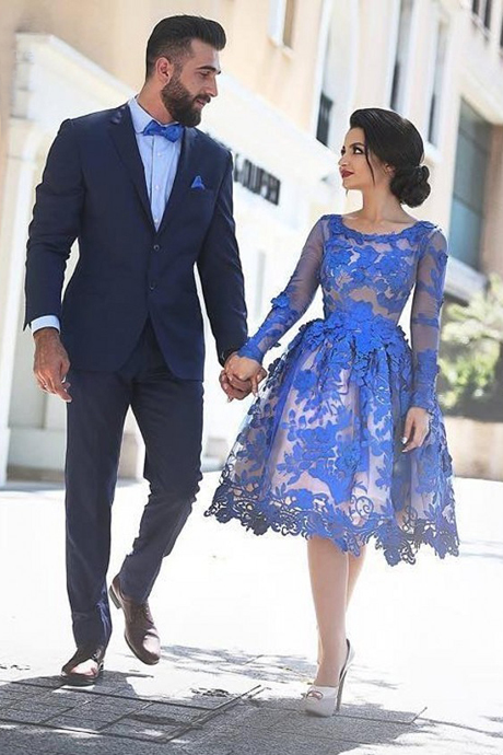 Blue Knee Length Homecoming Dresses,Vintage Lace Tulle Prom/Homecoming Dress -