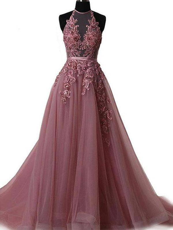 Lace  Mesh Halter Floor Length Tulle A-Line Formal Dress Featuring Lace-Up Open