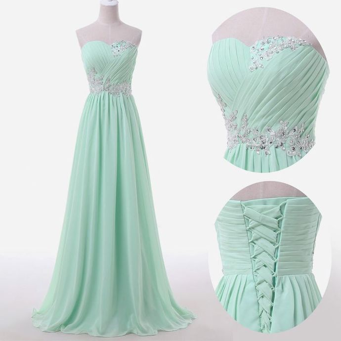 Mint Green Prom Dresses,Sweetheart Evening Gowns,Modest Formal Dresses