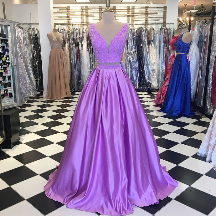 Gorgeous V-Neck Two Piece Lilac Long Prom Dress,Satin Prom Dress ,Party