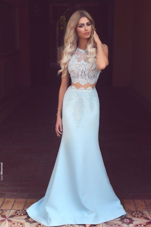 Prom Dresses,Long Prom Dresses,Baby Blue Two Piece Evening Dress