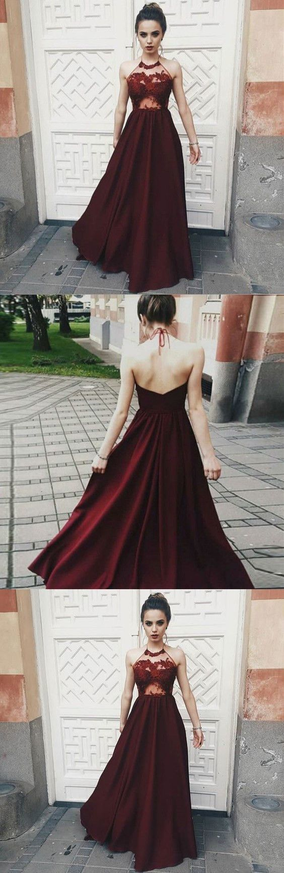 Romantic burgundy prom dress,red mesh lace Party Dress,Halter Top Evening