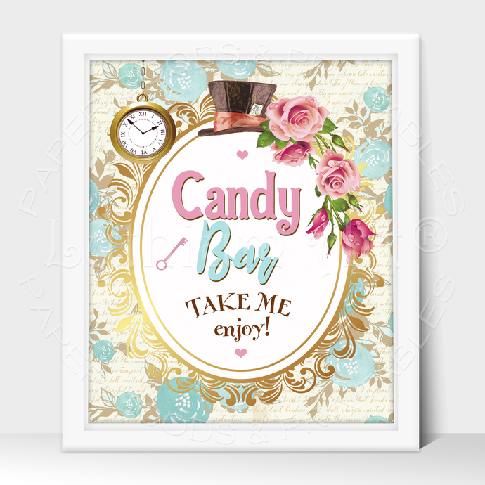 ALICE IN WONDERLAND Party Sign, Candy Bar Printable Sign, Instant Download