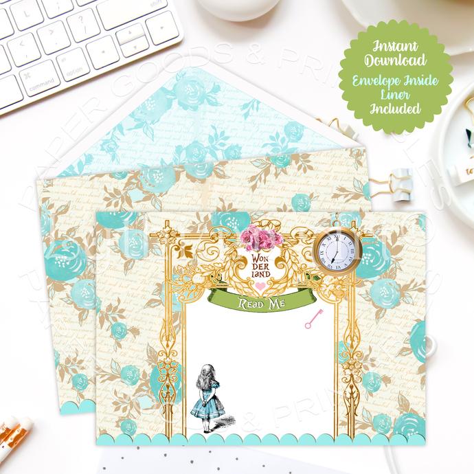 Alice in Wonderland Envelope, Floral Liner, Instant Download, Printable