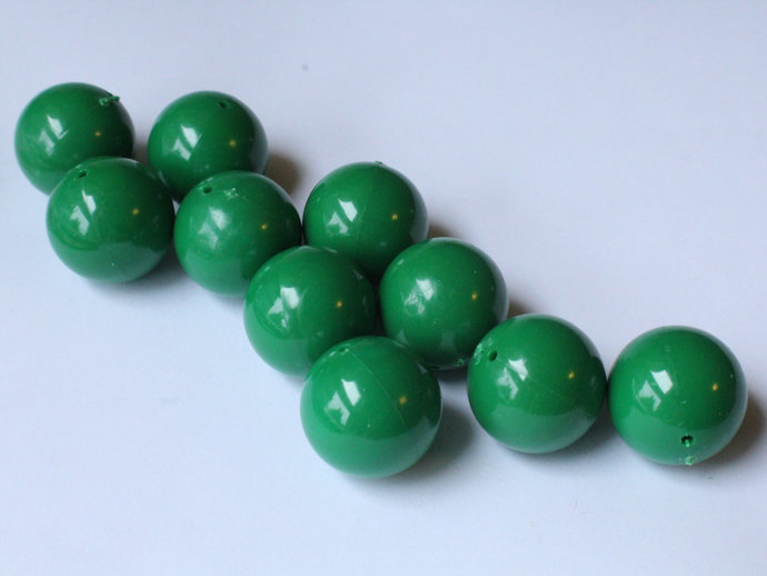 10 20mm Smooth Round Dark Green Beads Vintage Plastic Beads Jewelry Making