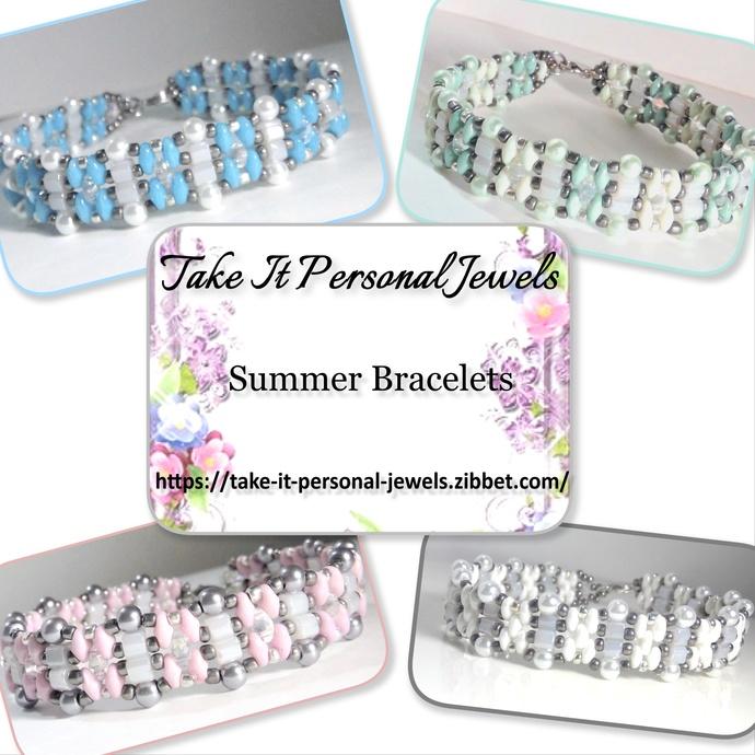 Summer Pearl Tennis Bracelets Handmade Pink Blue White Mint Green Free Matching