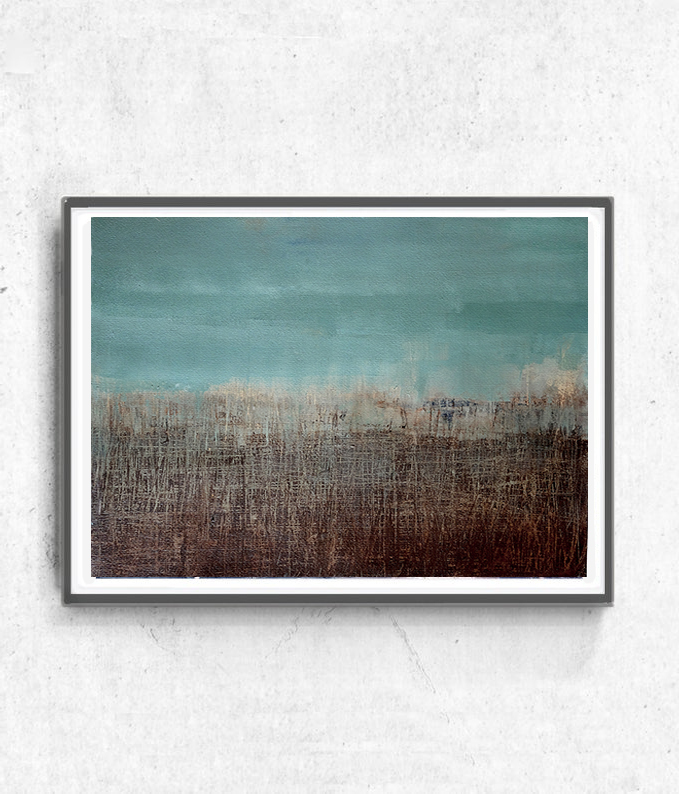 Acrylic on paper, original painting , abstract artwork, Brown turquoise painting