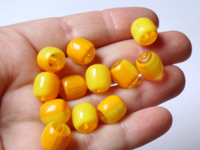 12 12mm x 10mm Yellow and Orange Vintage Lucite Barrel Beads Two Tone Plastic