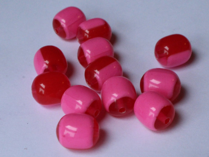 12 12mm x 10mm Red and Pink Vintage Lucite Barrel Beads Two Tone Plastic New Old