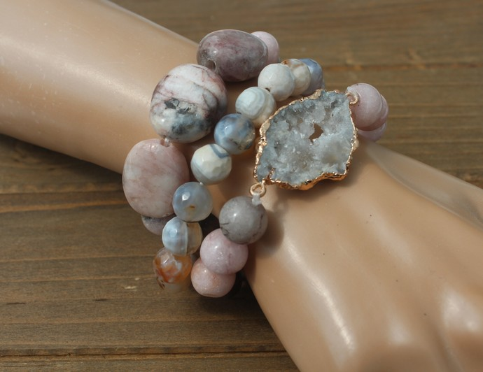 Big Stacking Pink & Gray Opal Bracelet Set with Druzy by KnottedUp
