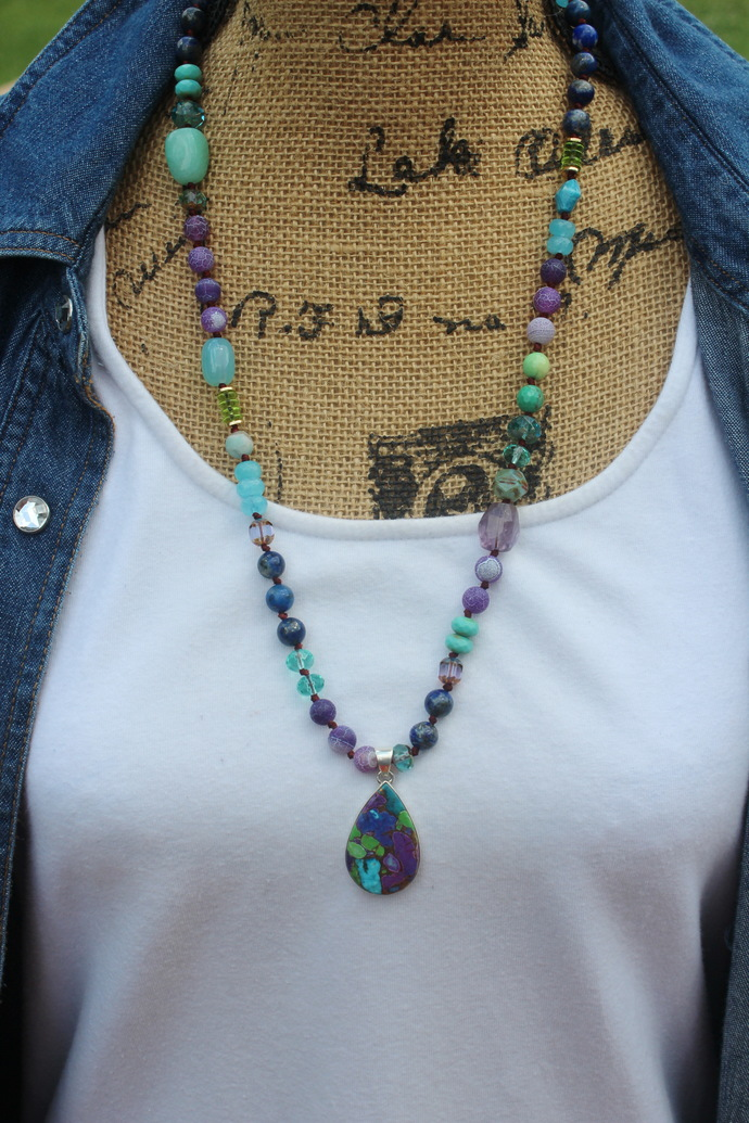 Emotional Healing Beaded Necklace with Copper Turquoise Pendant by KnottedUp