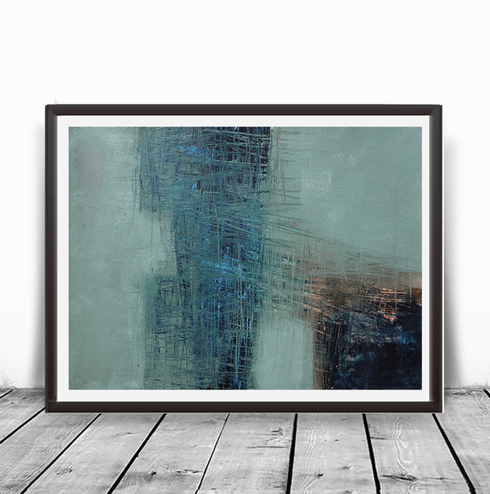 Acrylic horizontal abstract, original painting brown navy teal , navy turquoise