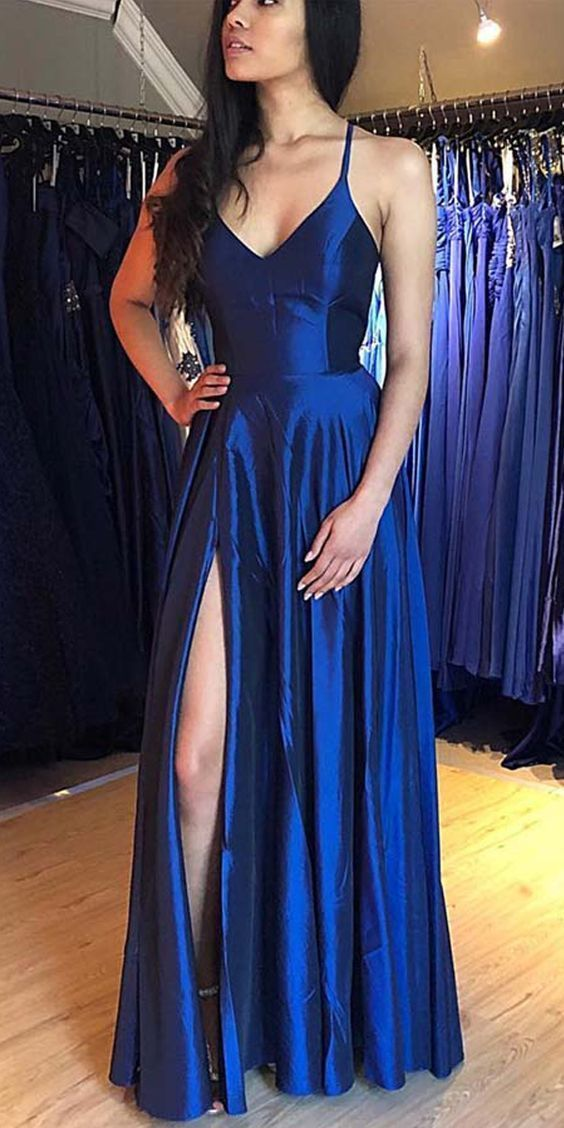 V-neck Spaghetti Straps Royal Blue Prom Dress Custom Made Floor Length