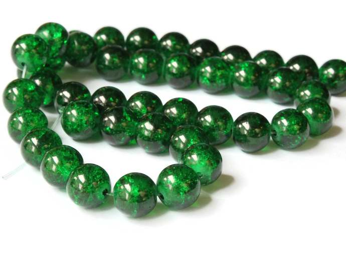 10mm Green Crackle Glass Round Beads Ball Beads Sphere Beads Jewelry Making