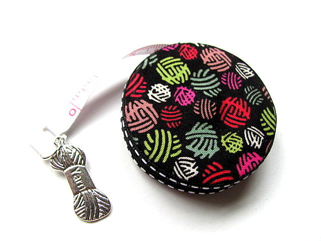 Tape Measure Black and  Rainbow Yarn Balls Retractable Measuring Tape
