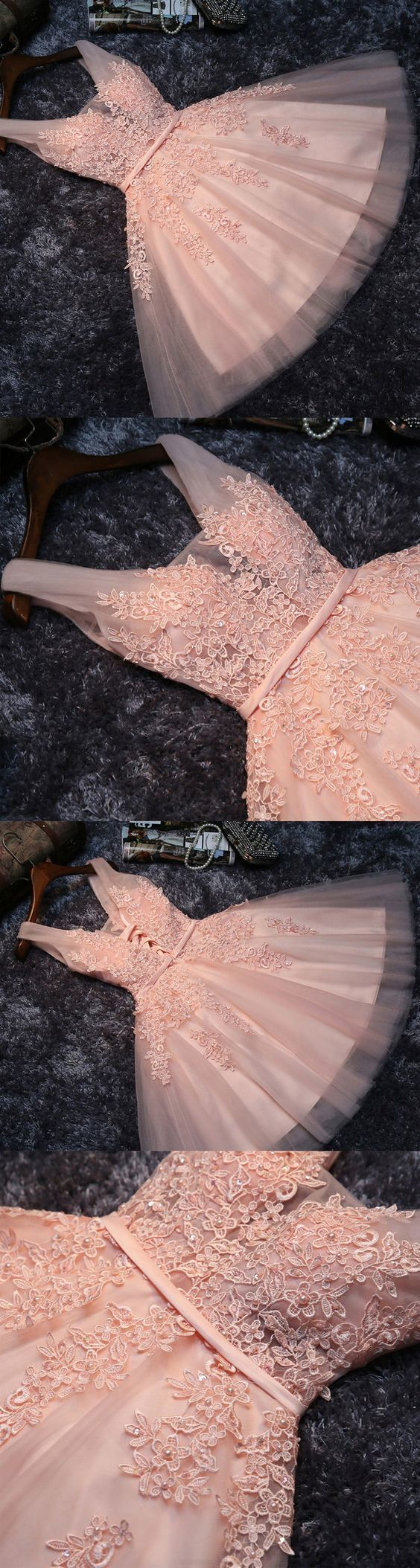 V-Neck Party Dresses, Pink Short Prom Dresses, 2019 Homecoming Dress Sexy A-line
