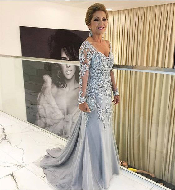 Elegant evening dress V Neck wedding dress Mermaid Mother of the Bride Dress