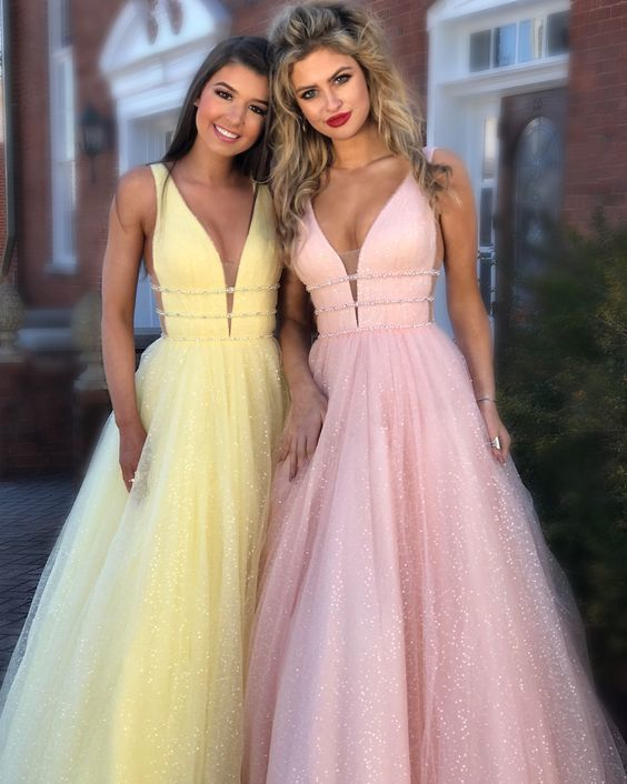 Long Prom Dress, Princess Yellow Long Prom,v-neck party dress