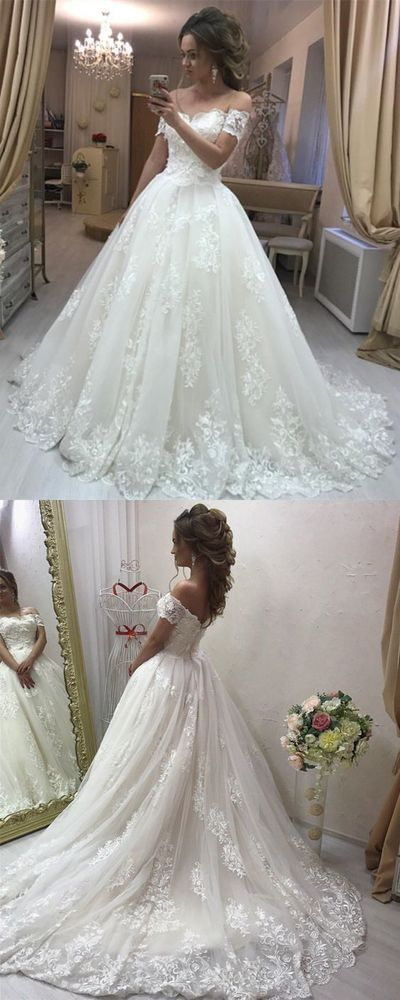Elegant White Tulle Appliques Ball Gown Wedding Dress, Formal Bridal Gown