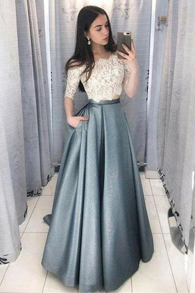 Two Piece Off the Shoulder party dress Half Sleeves Prom Dress With Lace Top
